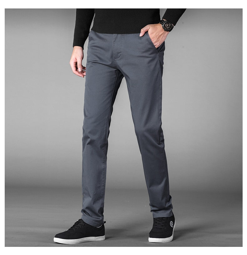 4 Colors Straight Casual Pants Men New Business Elastic Cotton Slim Fit Trousers Male Gray Khaki Plus Size 42 44 46 Brand