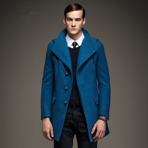 Latest Design Wool Coat Europe Lake Blue Hooded Woolen Trench Coat Man Winter Warm Red Outwear Fashion Men Clothing