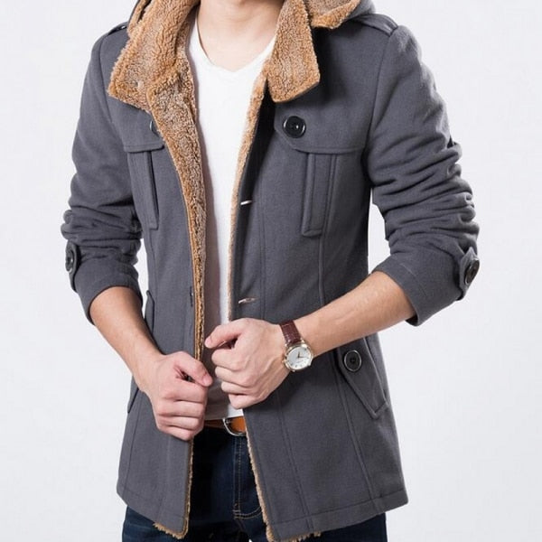 Winter Fleece Lined Wool Trench Coat Men Style Slim Fit Thick Warm Windbreaker Fashion Hooded Jacket Men Plus Size 5XL