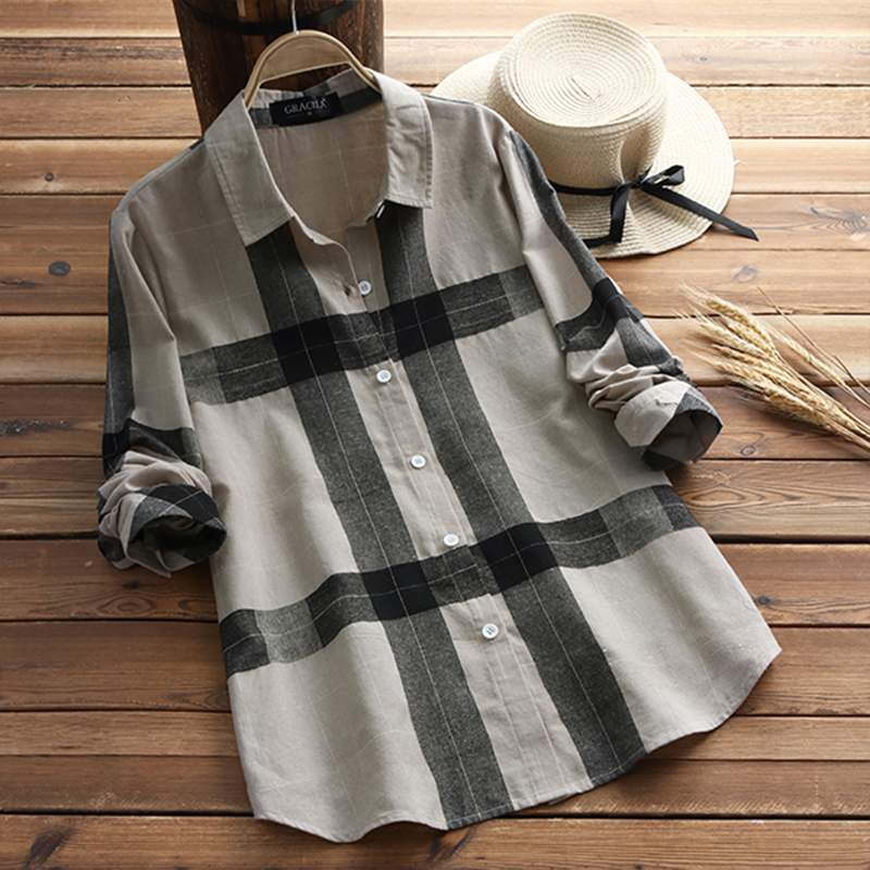 ae0c6bb6 Vintage Plaid Tops Women Check Blouse Female Lapel Button Shirts Chemise  Ladies Office Work Blusas Tunic ...