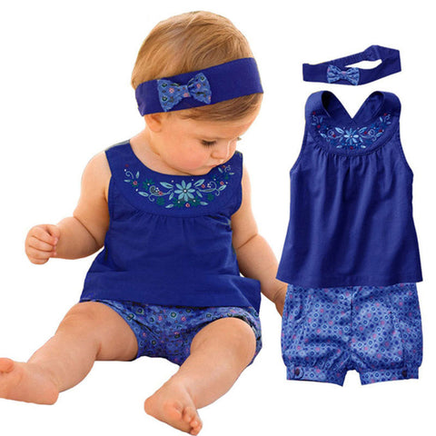 Baby clothing sets New Blue baby suits/Baby Jumpsuits/climb clothes kerchief+ sleeveless dress+ gingham plaid pant