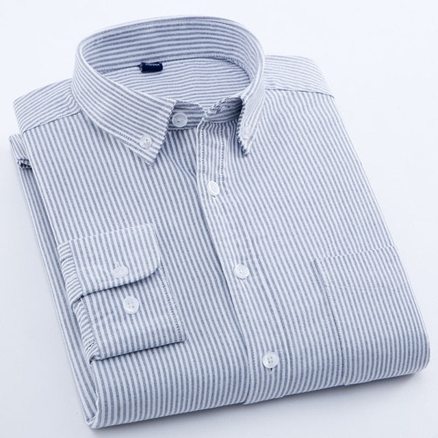 Autumn New 100% Cotton Oxford Striped Shirt Men Long Sleeve Slim Fit Formal Business Mens Dress Shirts Social Shirt Male