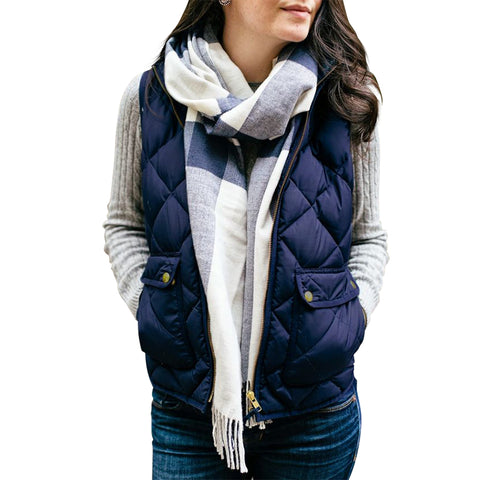 Autumn Winter Vest Women Quilted Jacket Waistcoat Vest Stand Collar Sleeveless Zip Up Pockets Gilet Overcoat Outwear Ladies