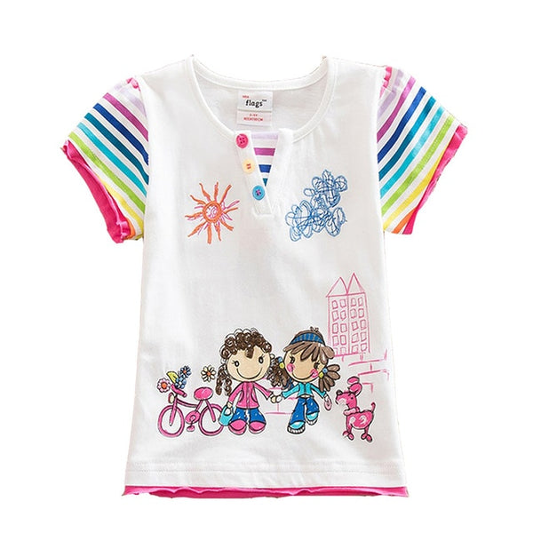 Kids T Shirt Baby Girls T Shirt Tees Cotton Cartoon Unicorn Tops Summer Clothes Cute Children Girls Short Sleeve Tees M50961