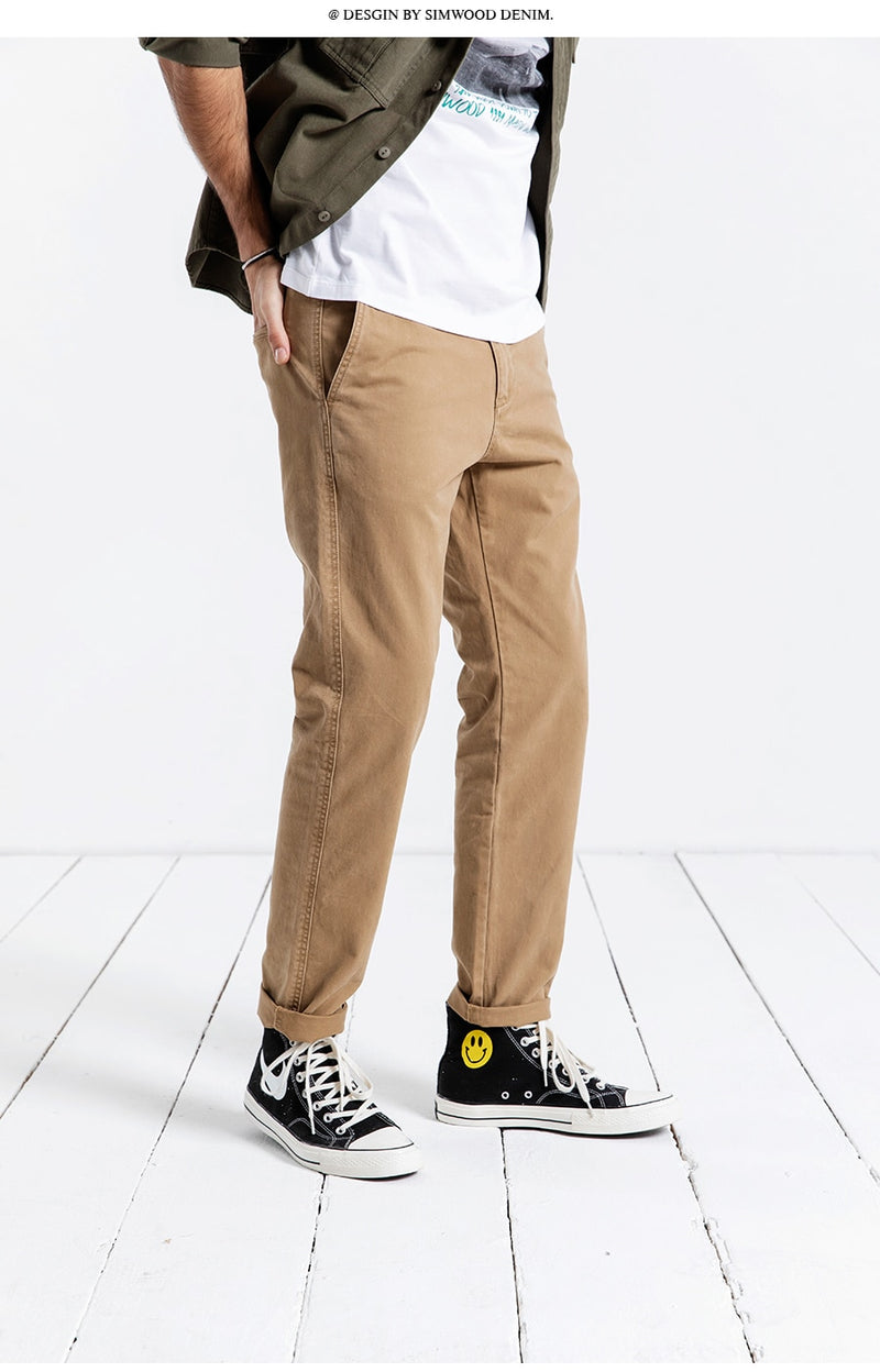 Casual Pants Men Long Pants Fashion Straight Slim Spring Male Trousers High Quality Brand Clothing 4 Colors 180613