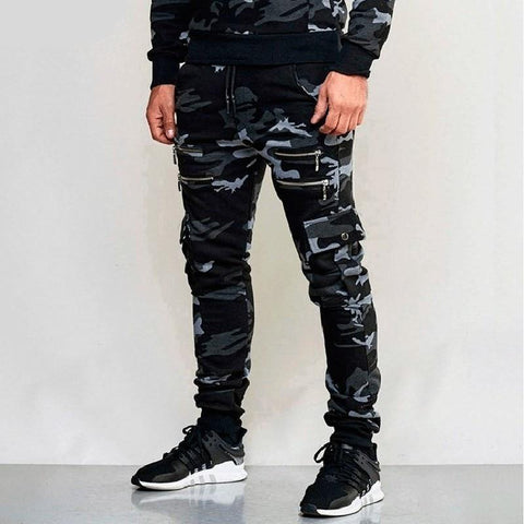 New Men's Zipper Camouflage Sweatpants Jogger Pants Male Casual Bodybuilding Fitness Trousers Sweatpants M-3XL