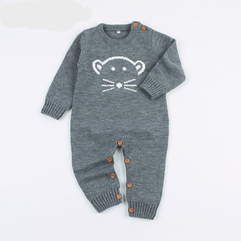 6acdc50ae Fashion Baby Boy Romper Funny Cartoon Bear Knitted Newborn Bebes Girl  Jumpsuits Spring Overalls for Children's