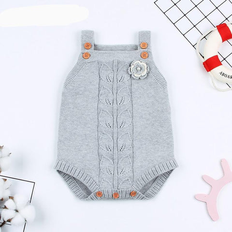 Spring Newborn Baby Bodysuit Clothes Fashion Flower Knitted Infant Kids Girl Sleeveless Onesie Outfits Toddler Children Jumpsuit