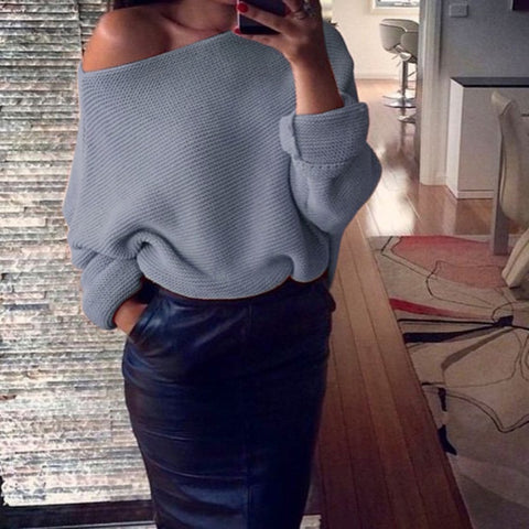 sexy off shoulder autumn winter sweater solid warm pullover women long sleeve casual knit sweater women pullover