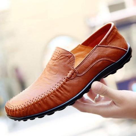 Driving Shoes Men Handmade Genuine Leather Moccasin Black Shoes Casual High Quality Leather Loafers Men Shoes Big Size