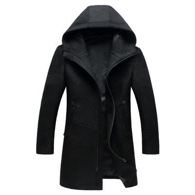 New Winter Men's Fashion Wool Coat Jackets Trench Coat Men Casual Windbreaker Homme Woolen Black Overcoat