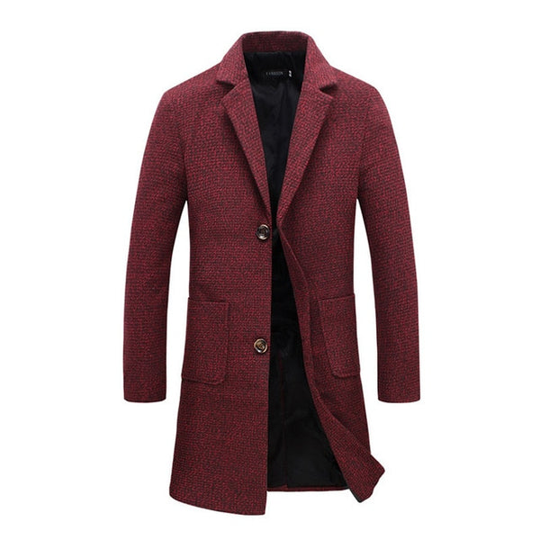New Fashion Designer Long Mens Coat Mens Trench Coat Autumn Winter Windproof Slim Trench Coat Men Plus Size