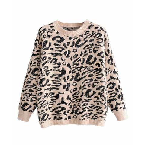 Women-s Faux Mink Fur Leopard Sweaters Winter Ladies Vintage Bob Knitted Pullovers Long Sleeve Animal Printed Soft-Warm Sweater