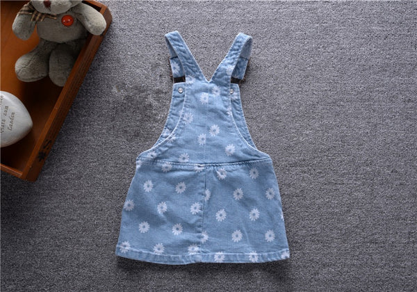Fashion Baby girl dresses flowers Denim Suspender infantil newborn Jeans dress for toddler sundress 6-24M