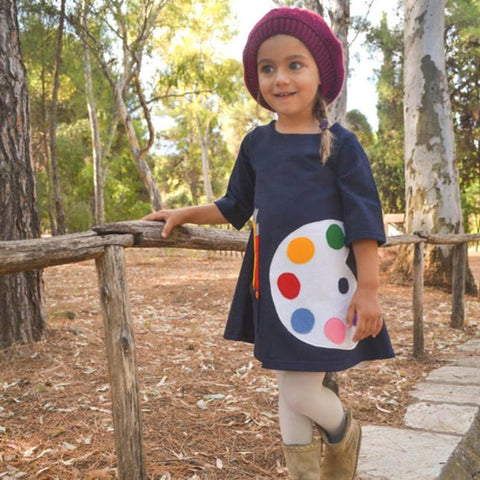 Soft Sweet Style Sketchpad Print Pattern Long Sleeve Cotton Girl Dresses Clothing Daily Wear with Pockets