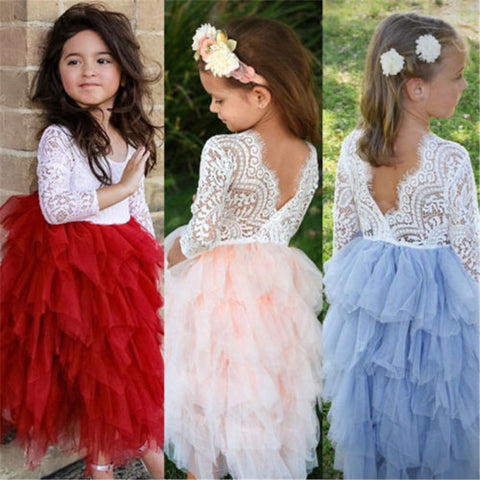 New Year Dresses For Girls Baby Girl Ball Gown Lace Tutu Dresses Hot Kid Tulle Dress For Girls Bridesmaid Party Pageant Vestido