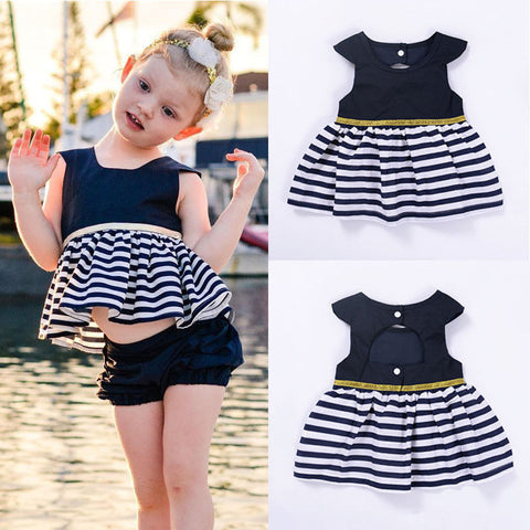 Newborn Baby Girls Party Princess Pageant Tutu Dress Sleeveless Striped Navy Blue Dresses New Summer