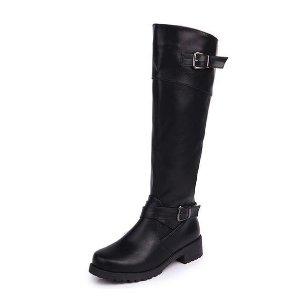 Autumn and Winter Women Fashion Boots Long Tube Knights Female Shoes Thick and Large Belt Buckle Cross Border Boots