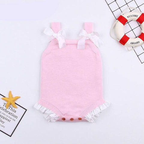 Baby Girls Summer Onesie Pink Bowknot Toddler Princess Bodysuit Birthday Party Newborn Infant Overalls Knit Children's Jumpsuits