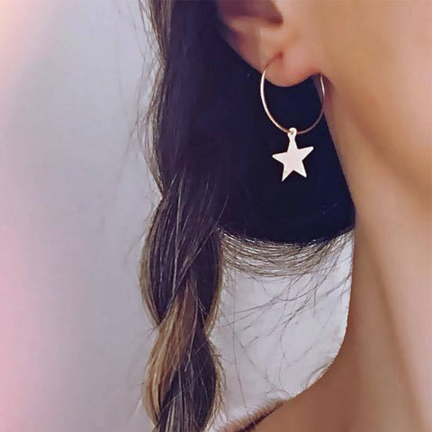 Fashion Europe and America New Simple Circle Stars Geometric Hoop Earrings Trendy Earing for Women Holiday Wedding Jewelry