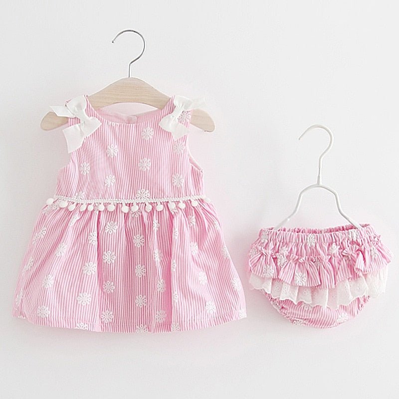 bb48b81857d Newborn Baby Girls Clothes Sleeveless Dress+Briefs 2PCS Outfits Set Striped  Printed Cute Clothing Sets ...