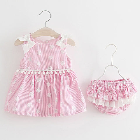 Newborn Baby Girls Clothes Sleeveless Dress+Briefs 2PCS Outfits Set Striped Printed Cute Clothing Sets Summer Sunsuit 0-24M