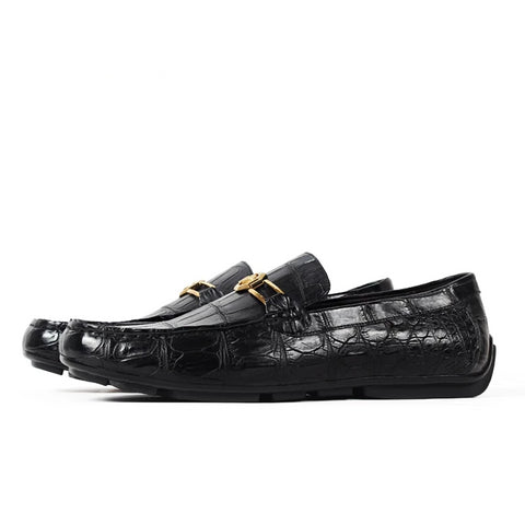 Handmade Luxury Shoes Fashion Party Casual Designer Alligator Genuine Leather  Men Shoes