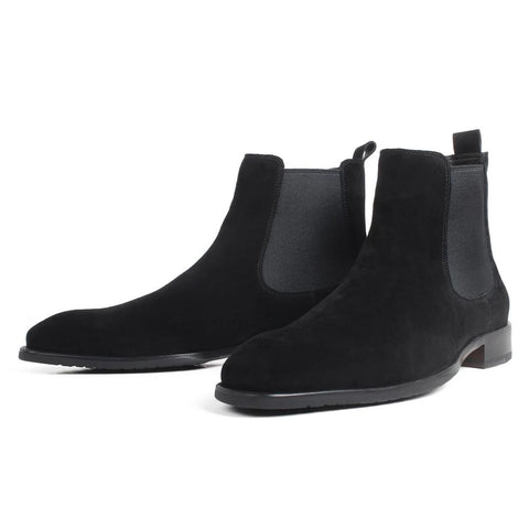 Autumn New Fashion Suede Flat Chelsea Boots For Men Black Slip-On Suede Lining Handmade Driving Boots Hombre