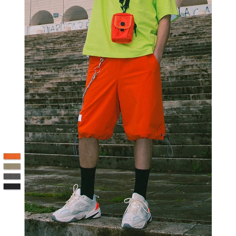 Elastic Drawstring Shorts Men Summer Loose Style Straight Skateboard Shorts Mens Street Wear Hip Hop Shorts
