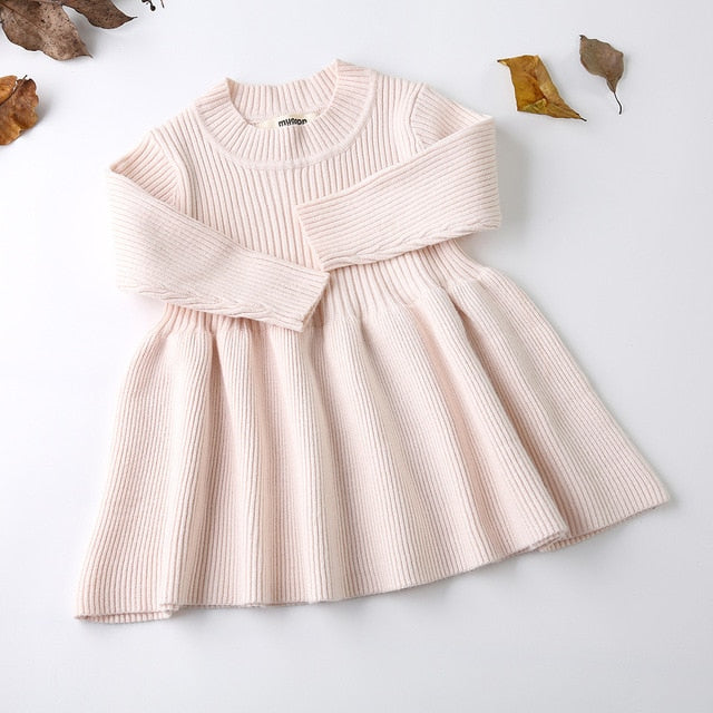 5fe8879caf04 2018 Autumn Winter Infant Girls Wool Knitted Sweater Baby Girl Dress ...