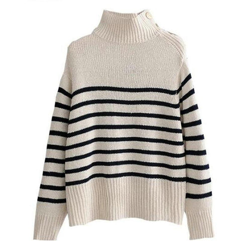 Winter Women Turtleneck Knit Sweater Buttons Decor Loose Knit Pullovers Pull Femme Casaco Feminino