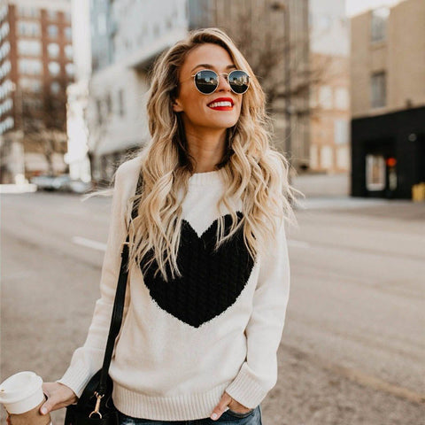 Autumn Winter Print Knitted Sweater Pullovers Women Long Sleeve Befree Warm  Knitting Female Jumper Sweaters For 5bbd99ff8