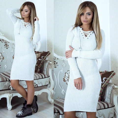 Autumn Winter Women Warm Sweater Dresses Soft Long Sleeve Slim Bodycon Warm Casual Dress Sexy Mini Knitted Dress