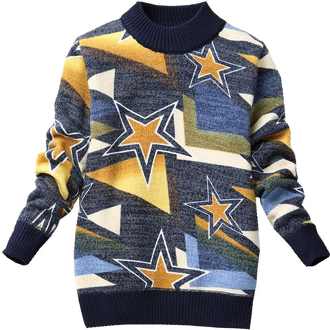 Knitted Kids Boy Sweater Casual Winter Star Pattern Warm Cotton Boys Sweaters Pullovers Children