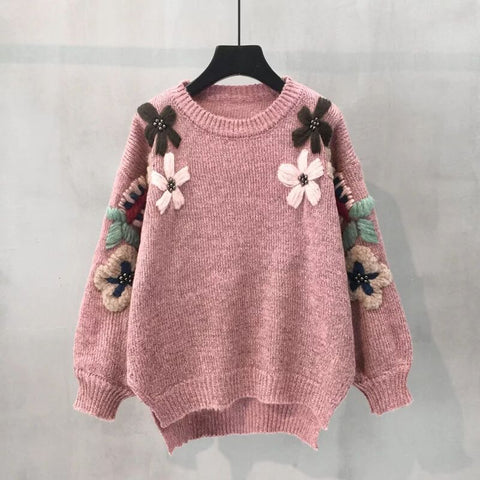 Winter Flower Embroidery Knitted Sweater Elegant Women Loose Vintage Pullover Sueter Mujer Jumper Pull Femme Tops