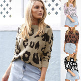 Autumn and Winter Women Long-sleeved Leopard Print Loose Sweater Fashion Sexy Knitting O-Neck Pullovers Long Sweaters