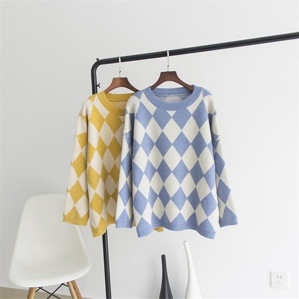 Women Argyle Yellow Pullover and Sweaters Oneck Oversized Jumpers Loose christmas sweater