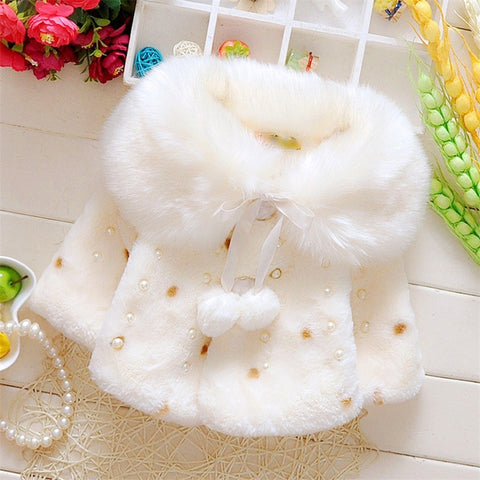Faux Fur Coats for Baby Girls Autumn Winter Clothes Child Wool Outwear Girl Beadings Shawl Kids warm shoulders Kids Costume