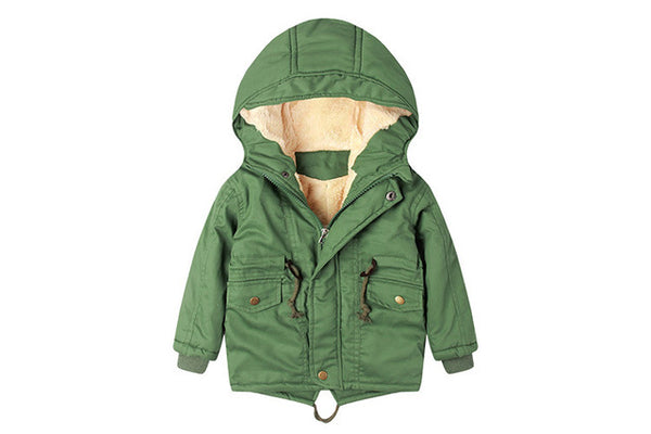 Kids jacket for girls winter Hooded Jacket Coat Spring Windbreaker for Boy Plus Thicken Fleece Velvet Outerwear Children Clothes