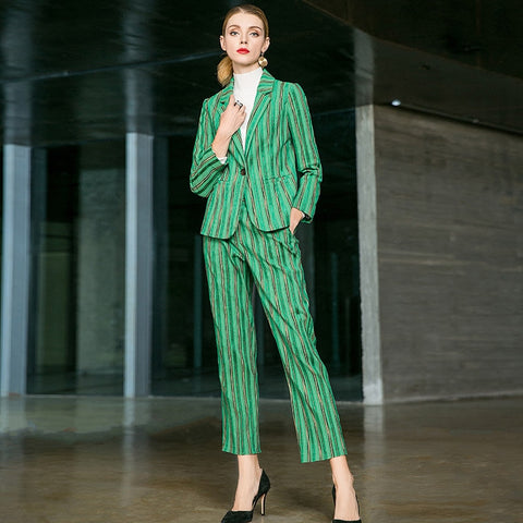 Striped long sleeve notched coats and full pencil pants 2 piece pants suits new office lady women autumn suits