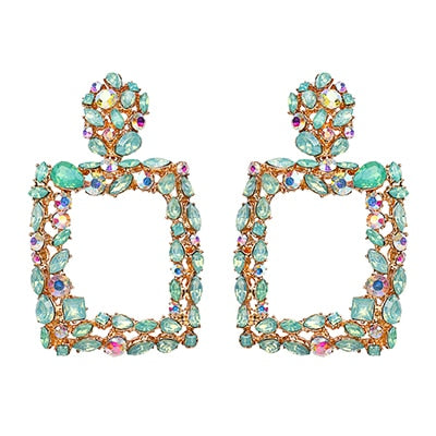 Fashion Women Crystal Rhinestone Luxury Square Hollow Big Dangle Luxury Earrings For Women Wedding Party Jewelry Gift
