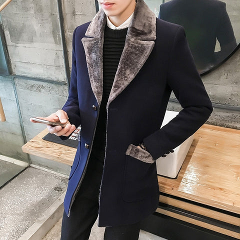 Fur Collar Trench Coat Men Wool Blend Winter Coat Slim Fit Men Manteau Homme Mid-Long Black Grey Mens Trench Coat Blue S~5XL
