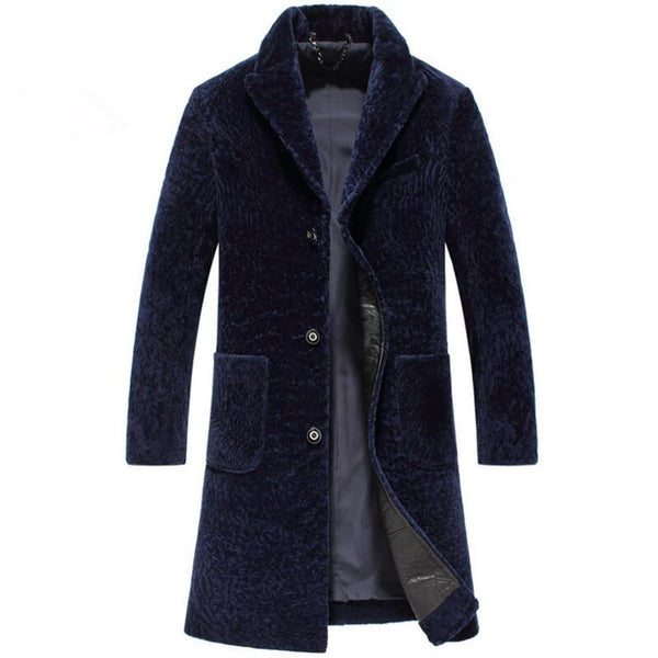 Luxury male wool long coat man shearling jacket