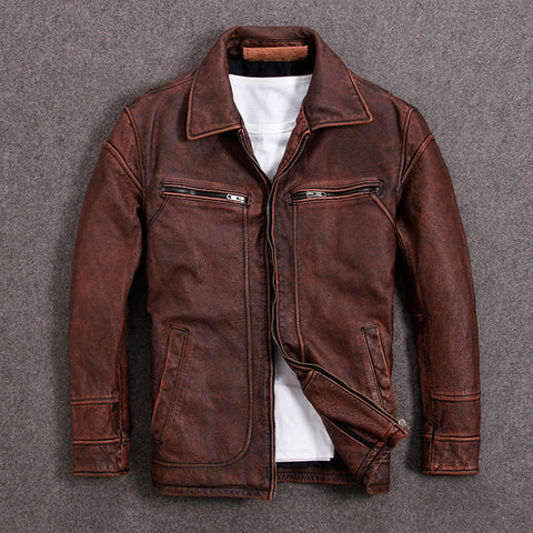 Vintage Brown Men American Casual Style Leather Jacket Plus Size Genuine Thick Autumn Leather Coat