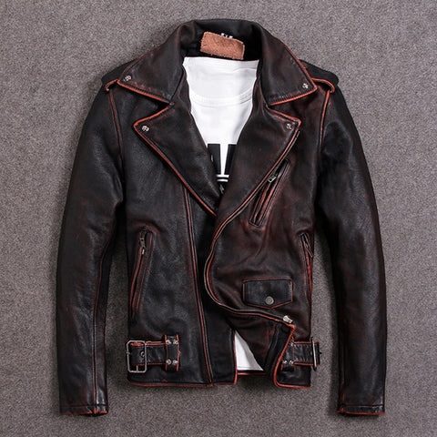 Vintage Brown Men Slim Fit Biker's Leather Jacket Plus Size Genuine Cowhide Short Motorcycle Leather Coat