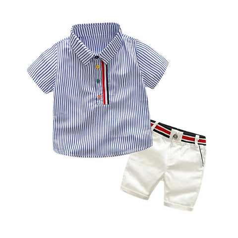 Fashion summer boys clothing set cotton formal striped gentleman suits for children t-shirt+overalls tracksuit set