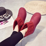 New Woman Ankle Boots Fashion Slip-On Sexy Comfortable Flat Woman Shoes Casual Winter Boots Keep Warm Size 35-40
