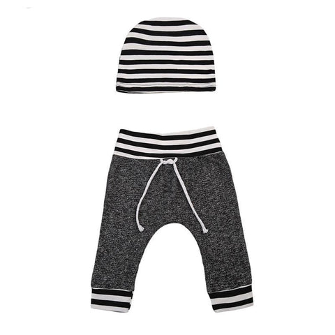 Toddler Infant Newborn Baby Boy Girls Outfits Gray Pants with Hat 2PCS 0-6 Months