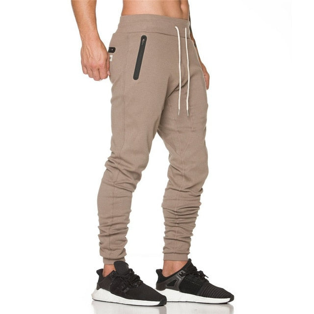New Bodybuilding Men's Pants Gyms Zipper packet Pants Brand Clothing Cotton Embroidery Trousers Fitness Jogger Sweatpants