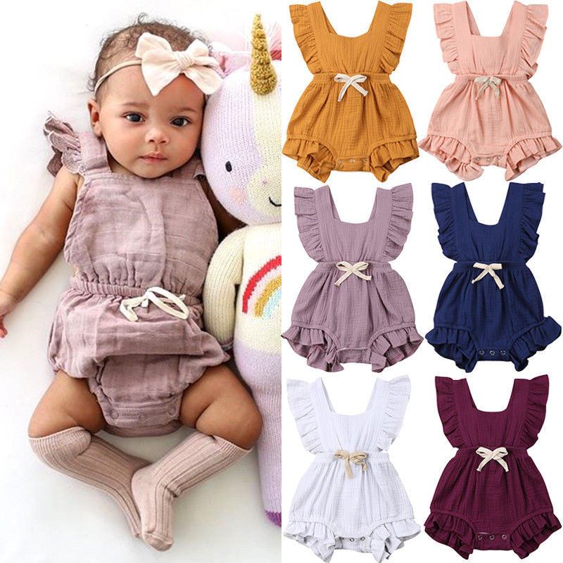 f1c94479116 Cute Newborn Cotton Clothes Baby Girl Summer Ruffle Bodysuit Fly Sleeve Bow Backless  Jumpsuit Solid Back ...